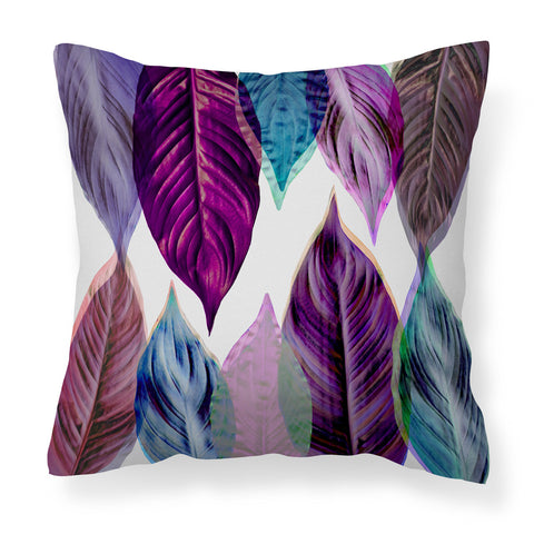 Pink Leaves - Modern Purple, Teal and Lilac Leaf Cushion