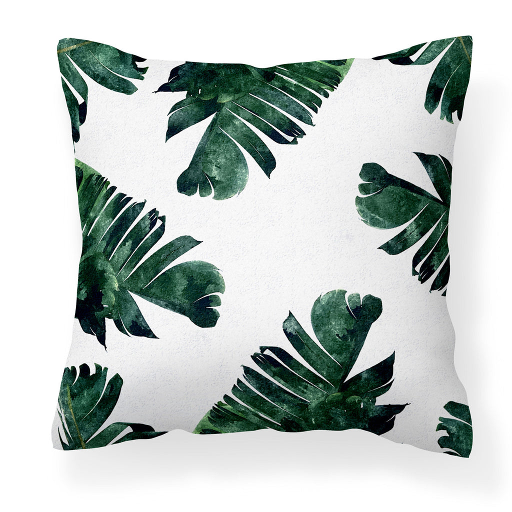 Lush green banana leaf modern cushion cover
