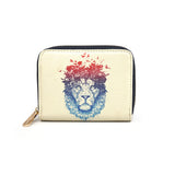 Floral Lion - Womens Stylish Vegan Mini Purse with Lion Artwork