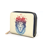 Floral Lion - Womens Vegan Mini Purse with Blue & Red Lion Artwork