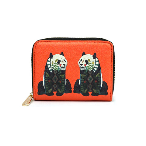 Panda - Womens Red Vegan Mini Purse Wallet with Cute Panda Artwork