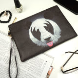 Black vegan leather clutch - Kiss Panda, createandcase, gifts for her