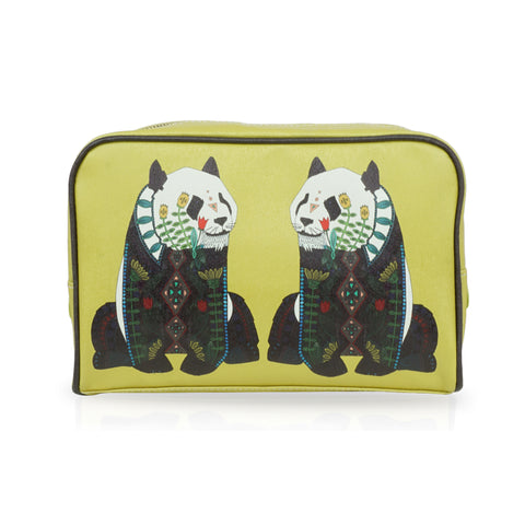 Panda - Mustard Yellow Large Vegan Travel Wash Bag
