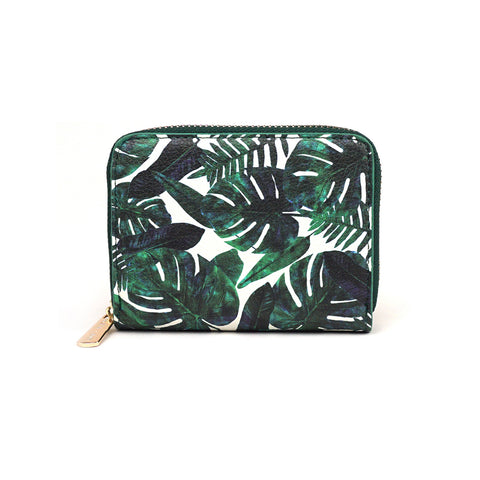 Perceptive Dream - Mini Vegan Leather Purse with Leafy Green Design