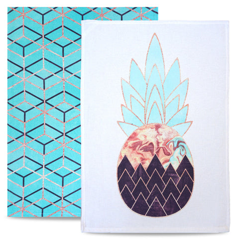 Pineapple tea towels - cotton tea towel set, colourful, mordern