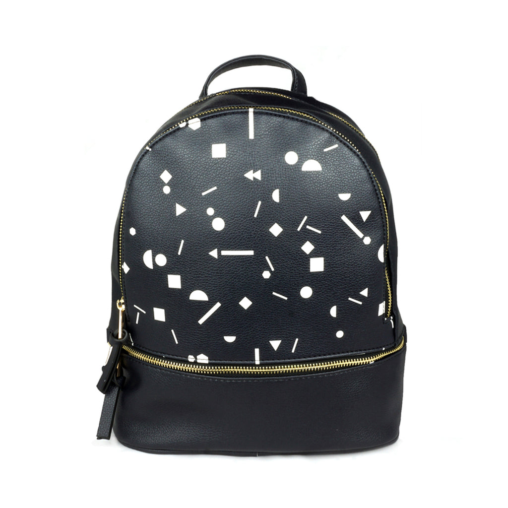 Shapes - Small Luxury Black Leather Backpack with white artwork