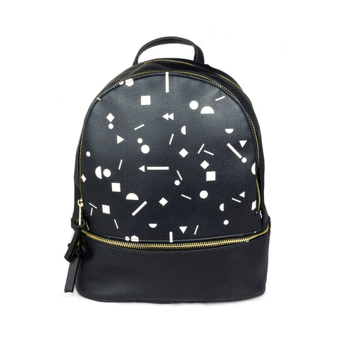 Shapes - Stylish Black Leather Backpack / Rucksack