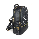 Shapes - Small Black Vegan Leather Backpack with white artwork from HETTY+SAM