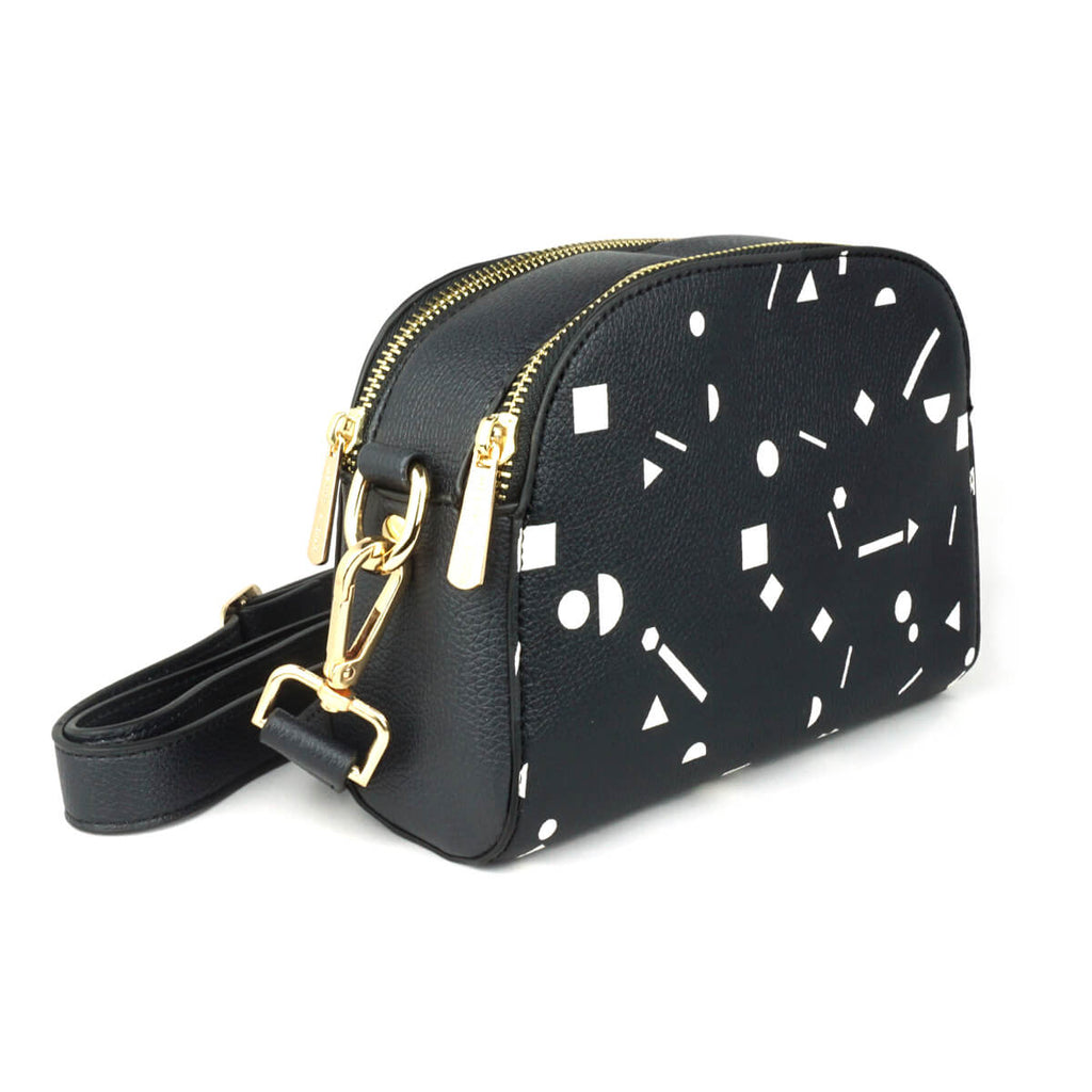 Shapes - Womens Designer Black Vegan Leather Cross Body Bag