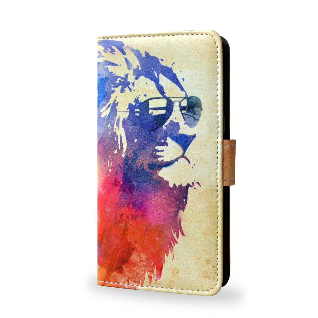 Sunny Leo - HTC One M9 leather case cover, watercolour lion print, vegan leather