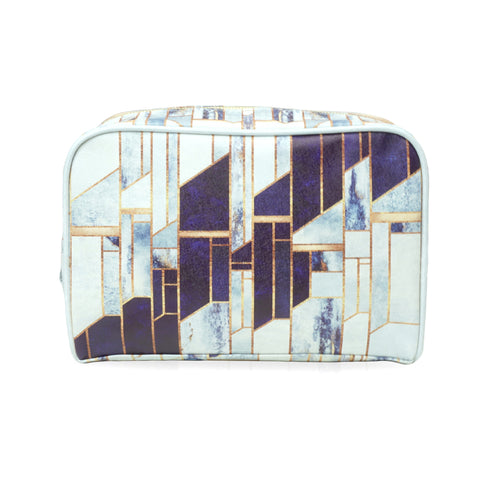 Blue Winter Sky - Large White & Blue Vegan Travel Wash Bag