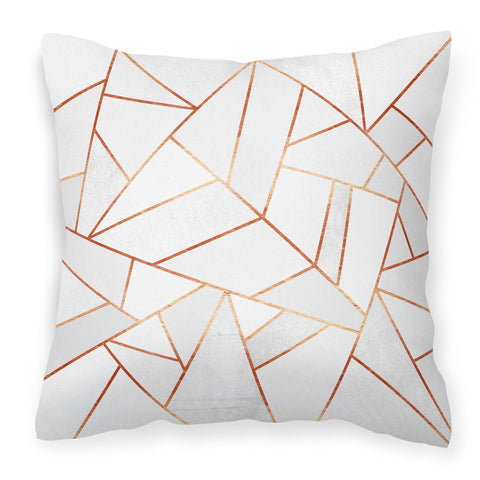 White Stone & Copper - Modern & Stylish Geometric Cushion