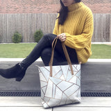 White Stone & Copper Geometric Vegan Leather Tote