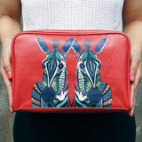 Zebra Love - unique birthday annivarsary gifts for women, Red wash bag with animal print, made using vegan leather