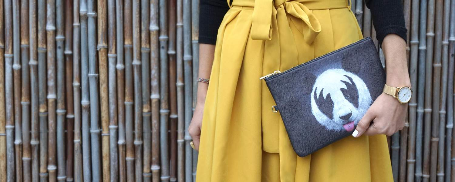 Kiss Panda Vegan Leather Clutch Bag