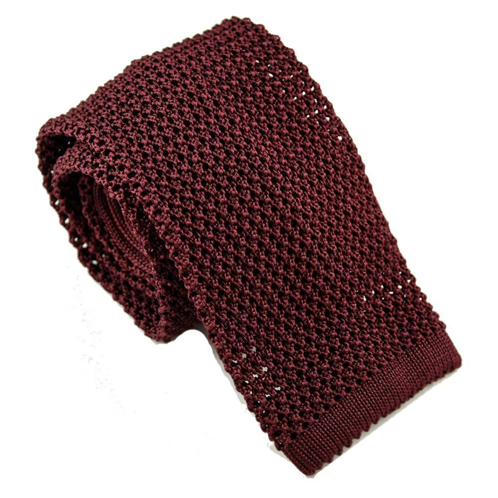 Cravate en tricot de soie bordeaux par Monsieur London