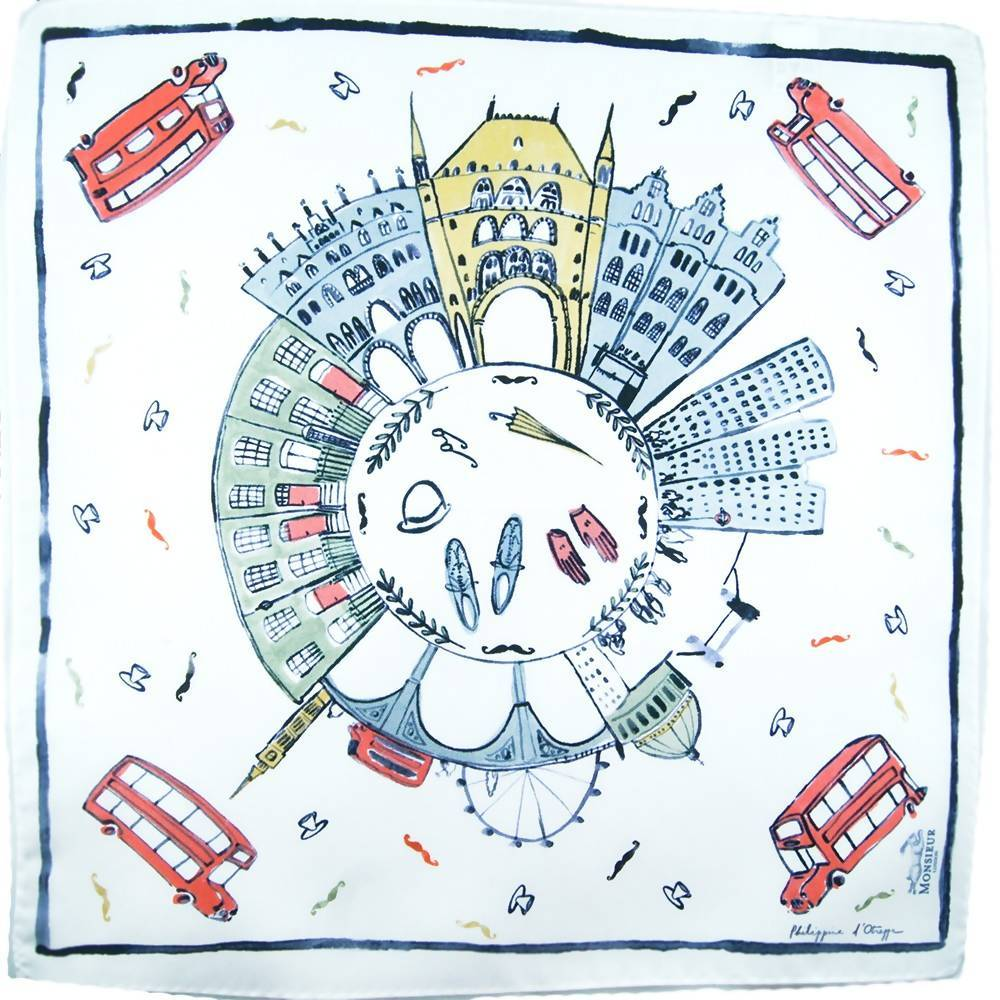 Pochette blanche illustration Londres couleur de Philippine d'Otreppe par Monsieur London