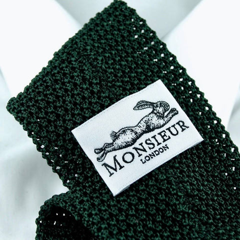 Cravate en tricot de soie verte par Monsieur London