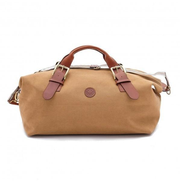 Duffle bag canvas de coton et cuir moutarde