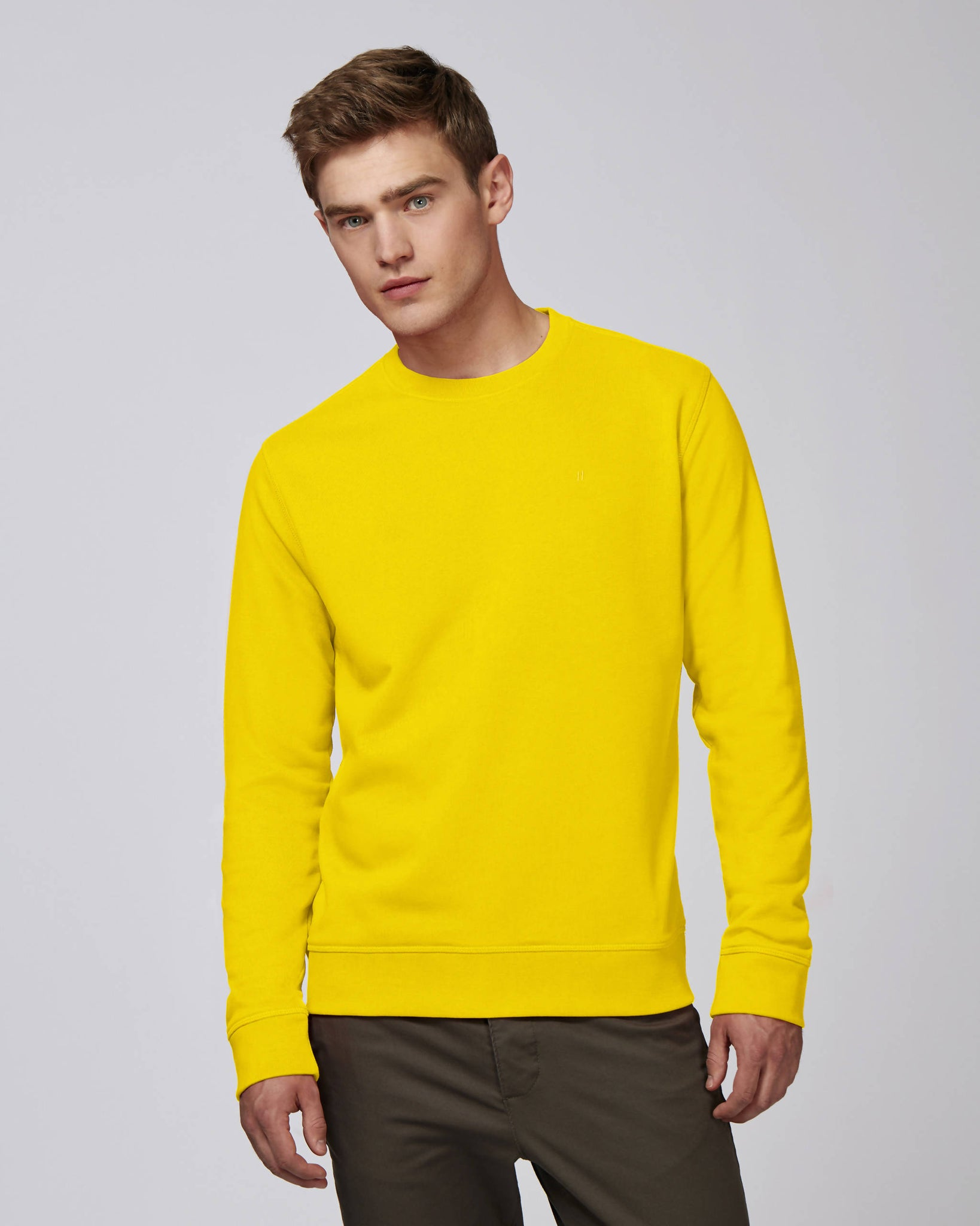Sweat-shirt col rond jaune