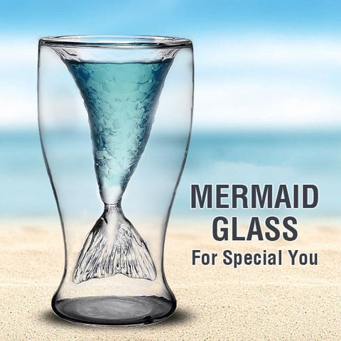 Double Mermaid Transparent Glass Mug, Glass Mug, TME Online | TME Online