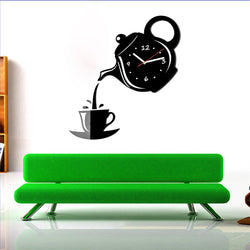 Modern Teapot And Cup Wall Clock