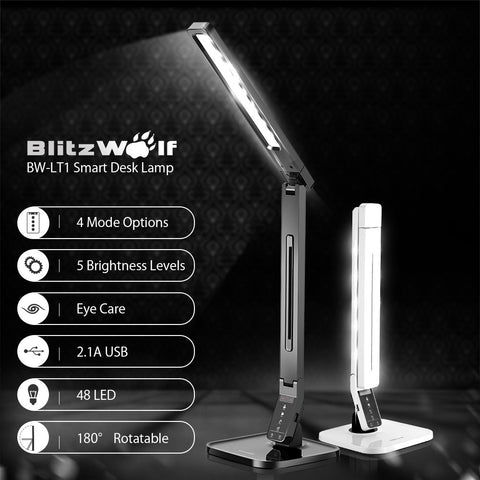 Smart LED Table Lamp with Dimmable Eye Protection plus USB Charging Port, Desk Lamp, BlitzWolf | TME Online