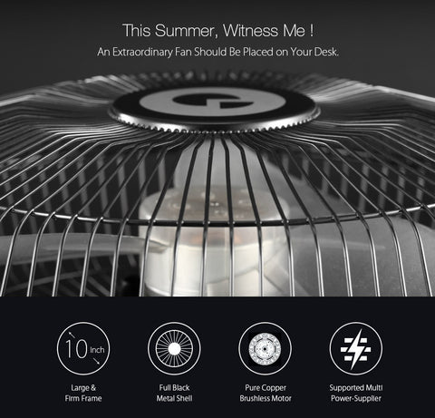 Large Full Black Metal Large USB Rechargeable Desk Fan, Fan, Digoo | TME Online