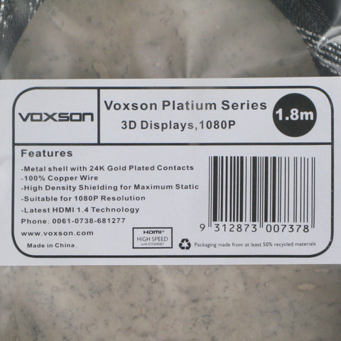 Voxson Platinum Series 3D Display HDMI Cable 1.8m, HDMI Cable, Voxson | TME Online