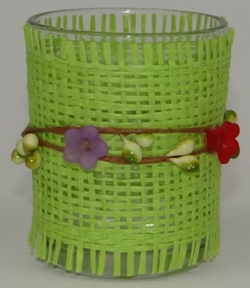 Tea light glass green weave & flower design, Candle Holders & Accessories, n/a | TME Online