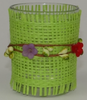 Image of Tea light glass green weave & flower design, Candle Holders & Accessories, n/a | TME Online