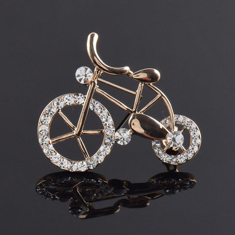 Gold Zircon Bike Brooch Pin Jewelry