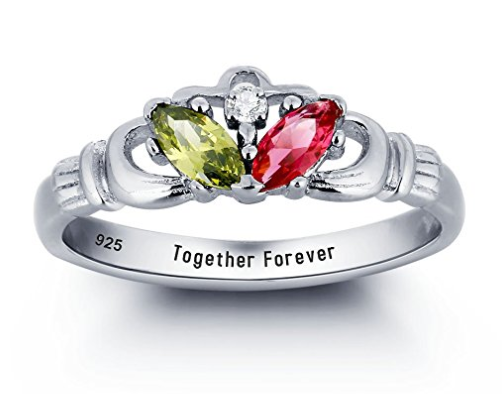 Customizable Birthstones Claddagh Ring