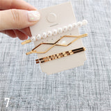 Gold Minimalist Pearl Hair Clips Accessories