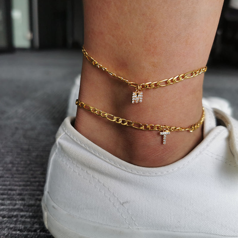 Gold Initial Figaro Chain Anklet with Crystals