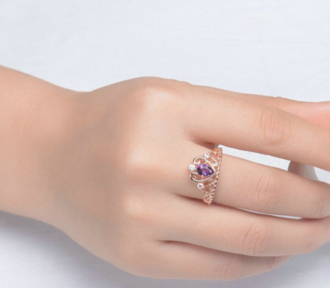 Amethyst Dainty Crown Ring