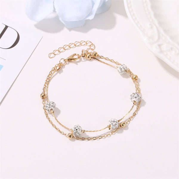 Gold Chain Layered Anklet Bracelet For Woman