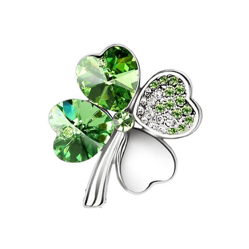 Crystal Four Leaf Clover Shamrock Brooch Pin