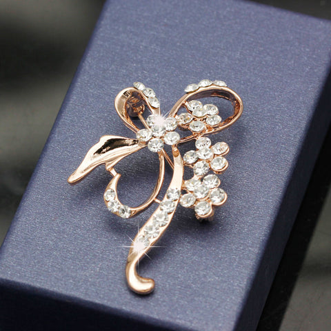 Gold Fashion Bow Crystal Brooch Pin