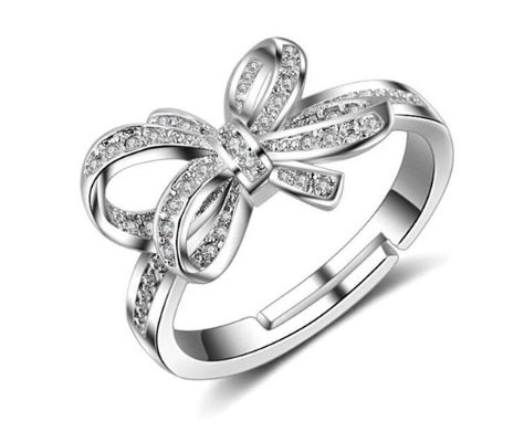 Bowknot Resizable Silver Ring