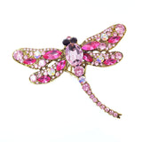 Fashion Crystal Dragonfly Brooches Pins for Women