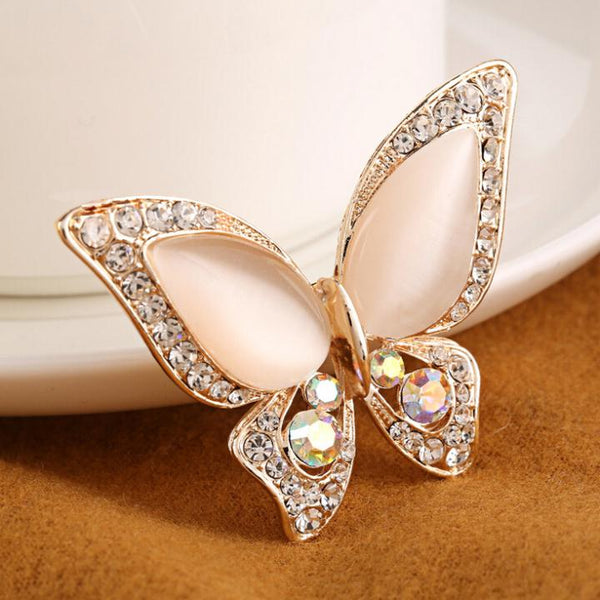 Opal Butterfly Fashion Brooch Pin