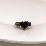 Black Heart Blue Zirconia Rings