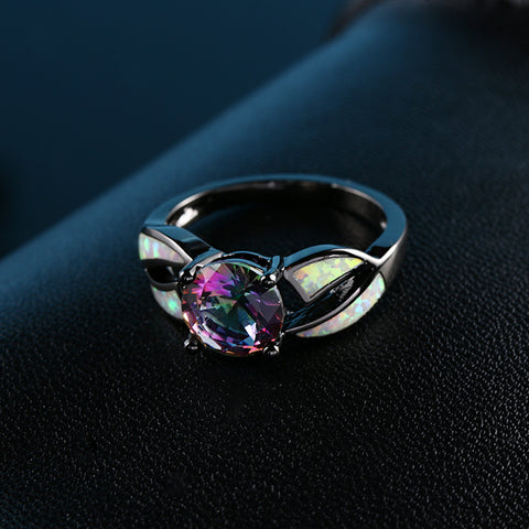 Charming Fire Opal Promise Ring