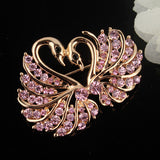 Gold Crystal Swan Brooch Lapel Pin