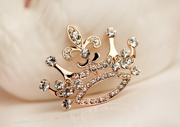 Gold Zircon Crown Brooch Pin