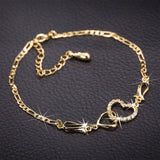 Gold Cubic Zirconia Heart Anklet Chain