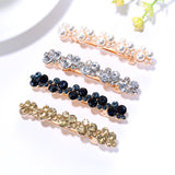 Gold Rhinestones Hair Barrettes Clips