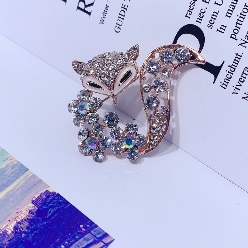 Gold Zircon Fox Brooch Lapel Pin