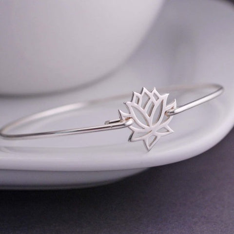 Lotus Flower Bangle Bracelet